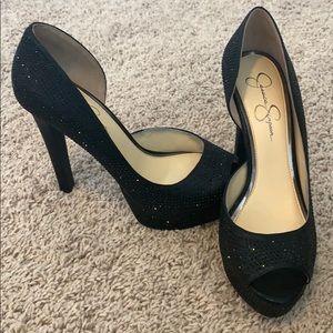 Bling black heels